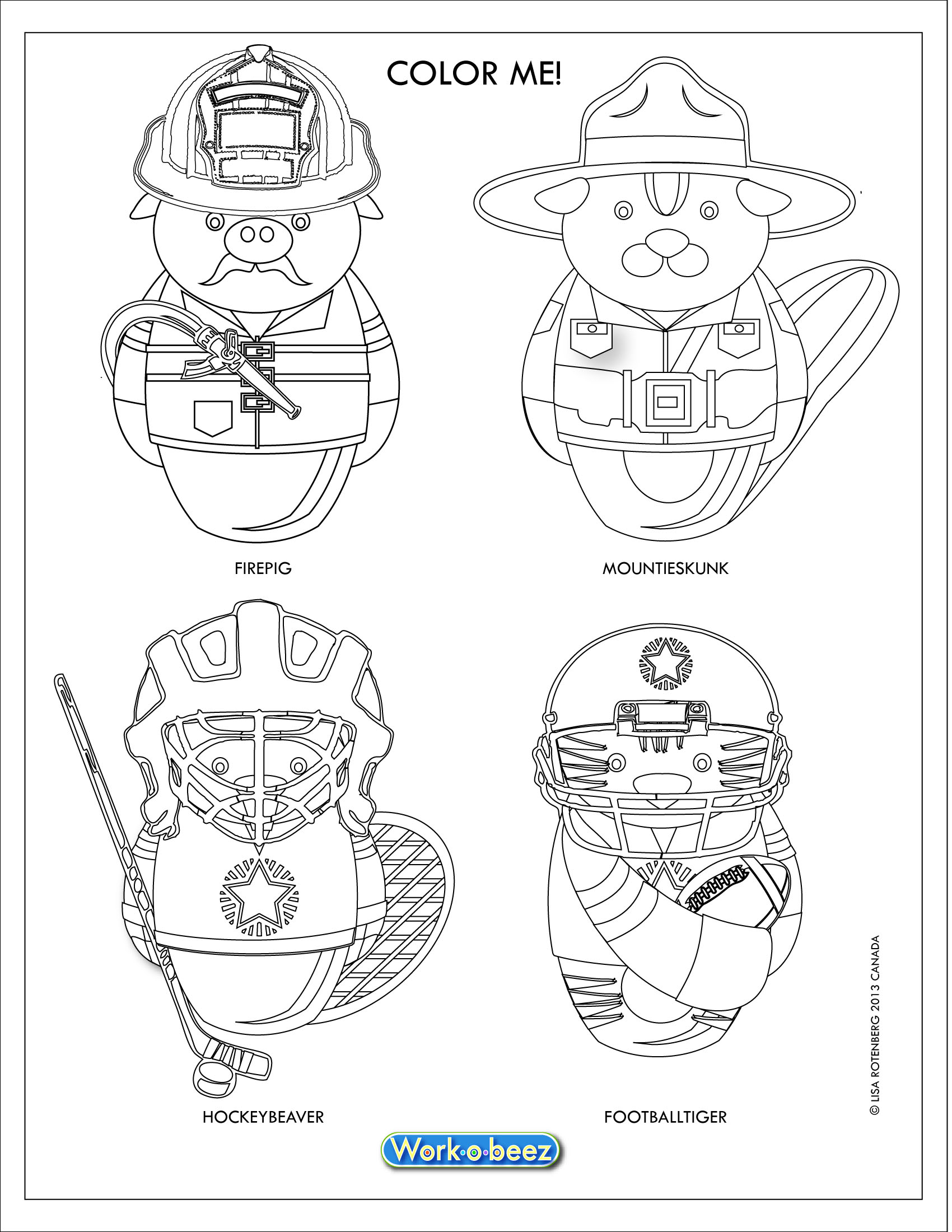 work o beez modular character designs are an innovative modern and fun set of figures for use in licenced products such as stickers coloring pages